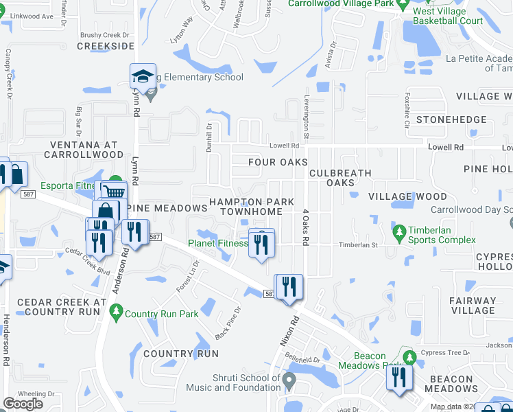 map of restaurants, bars, coffee shops, grocery stores, and more near 5316 Ladywell Court in Tampa