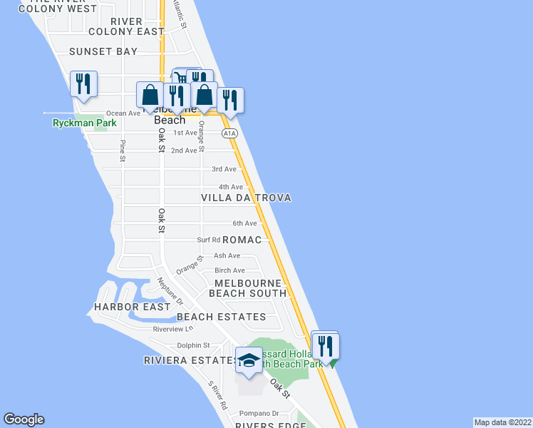 map of restaurants, bars, coffee shops, grocery stores, and more near 1503 Atlantic Street in Melbourne Beach