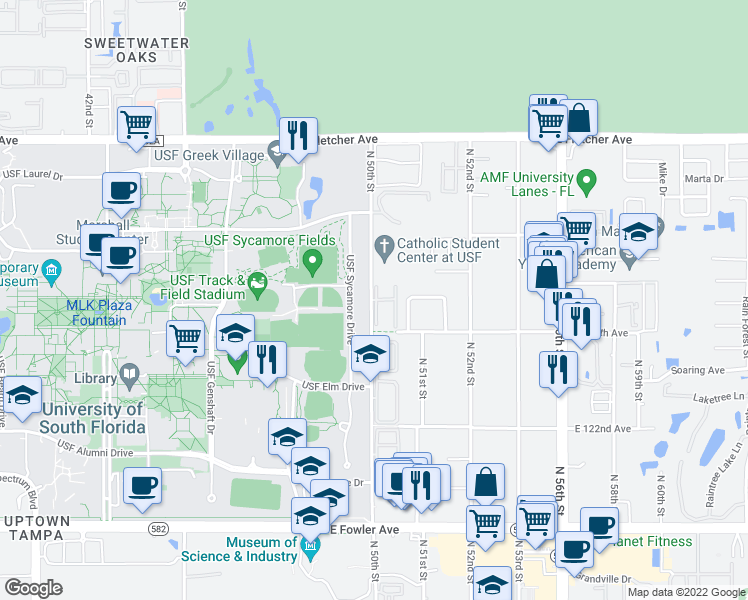 map of restaurants, bars, coffee shops, grocery stores, and more near 5110 Rolling Hill Court in Temple Terrace