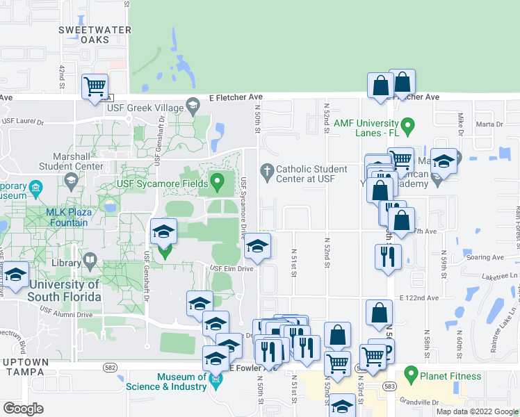 map of restaurants, bars, coffee shops, grocery stores, and more near 5001 Bordeaux Village Place in Tampa