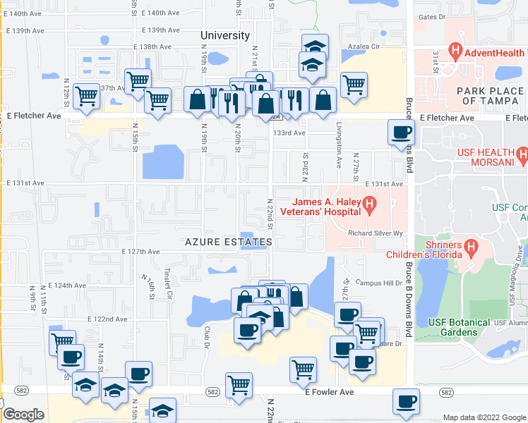 map of restaurants, bars, coffee shops, grocery stores, and more near 12769 Palmer Circle in Tampa