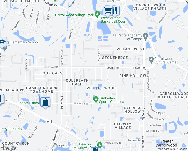 map of restaurants, bars, coffee shops, grocery stores, and more near 12906 Cinnimon Place in Tampa