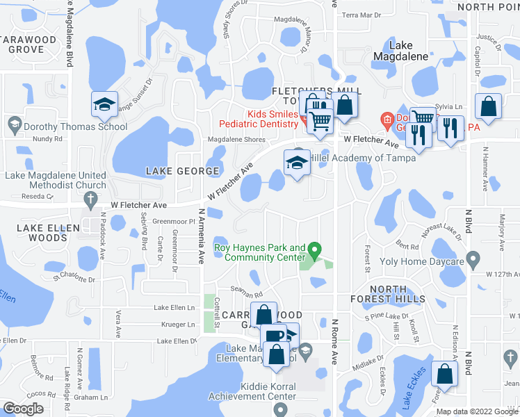map of restaurants, bars, coffee shops, grocery stores, and more near 12928 Woodleigh Avenue in Tampa