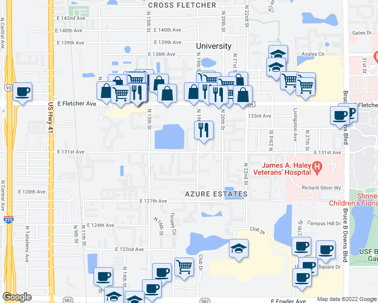 map of restaurants, bars, coffee shops, grocery stores, and more near 12750 North Elmer Street in Tampa