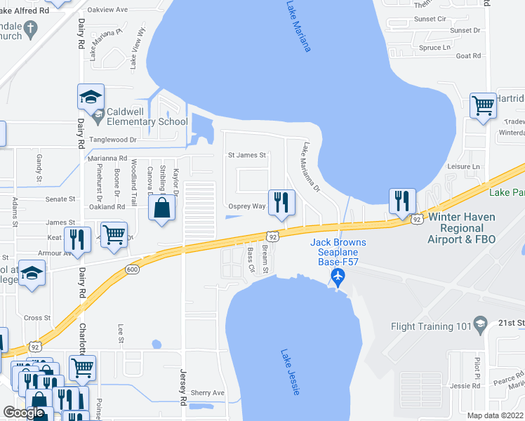 map of restaurants, bars, coffee shops, grocery stores, and more near 4666 Osprey Way in Winter Haven