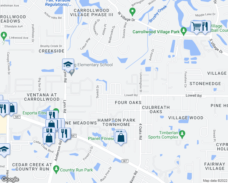 map of restaurants, bars, coffee shops, grocery stores, and more near 12804 Millridge Forest Street in Tampa