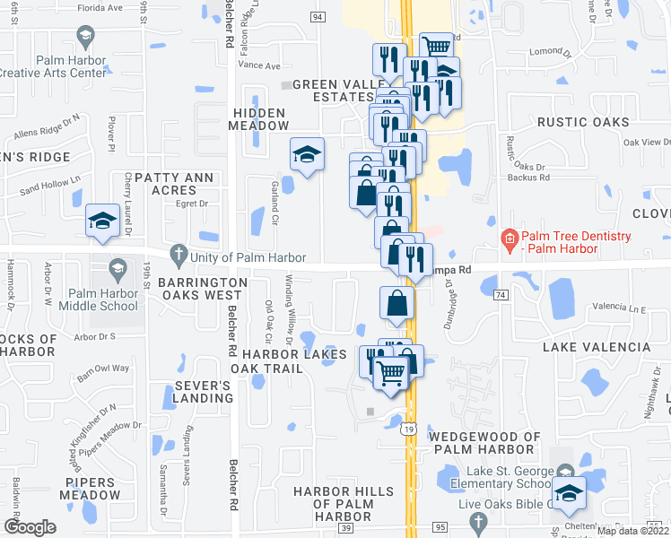 map of restaurants, bars, coffee shops, grocery stores, and more near Tampa Road in Palm Harbor