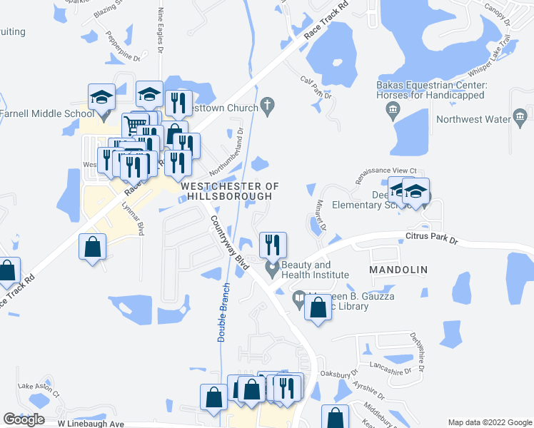 map of restaurants, bars, coffee shops, grocery stores, and more near 12018 Tuscany Bay Drive in Westchase
