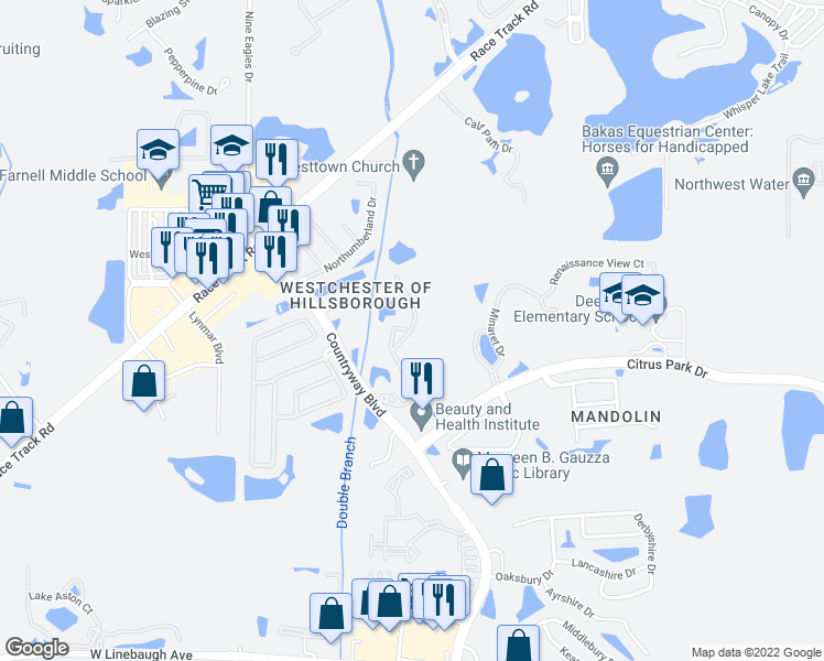 map of restaurants, bars, coffee shops, grocery stores, and more near 12065 Tuscany Bay Drive in Tampa