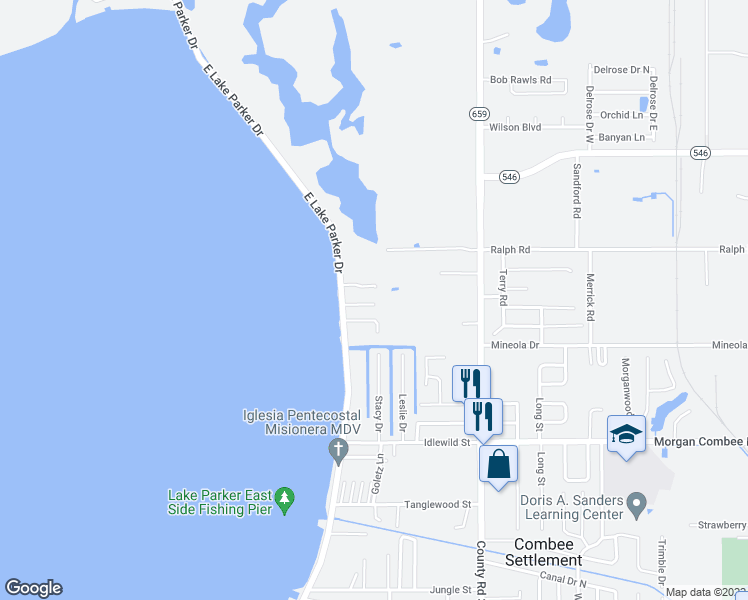 map of restaurants, bars, coffee shops, grocery stores, and more near 1721 East Lake Parker Drive in Lakeland