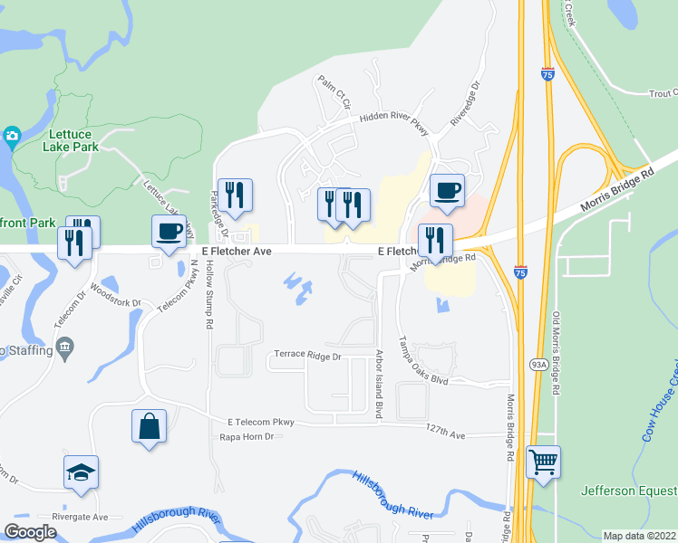 map of restaurants, bars, coffee shops, grocery stores, and more near 13400 Arbor Isle Drive in Temple Terrace