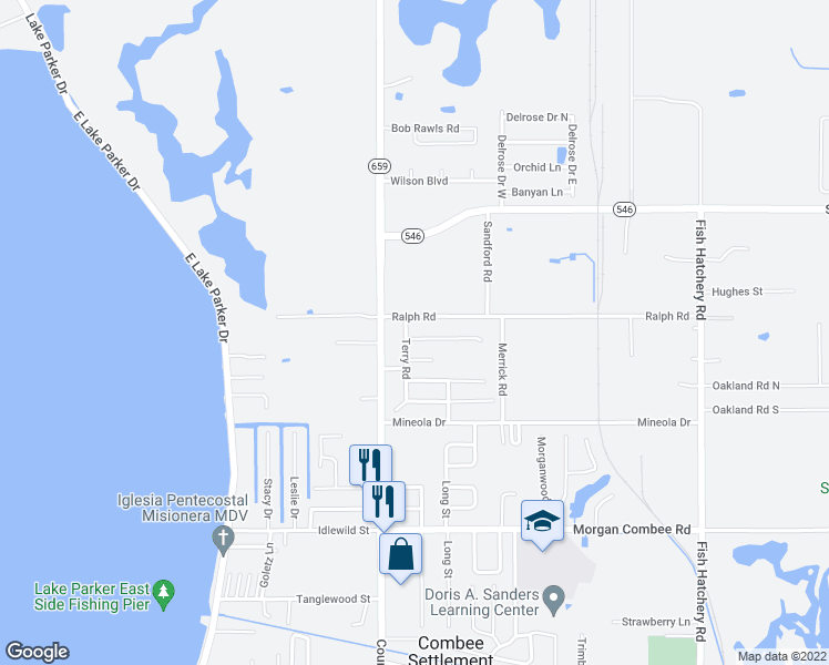 map of restaurants, bars, coffee shops, grocery stores, and more near 2613 Ralph Road in Lakeland