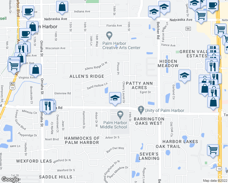 map of restaurants, bars, coffee shops, grocery stores, and more near 245 Allens Ridge Drive East in Palm Harbor