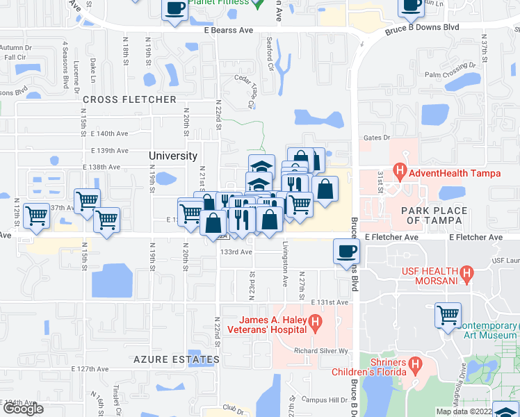 map of restaurants, bars, coffee shops, grocery stores, and more near UACP Trail in Tampa