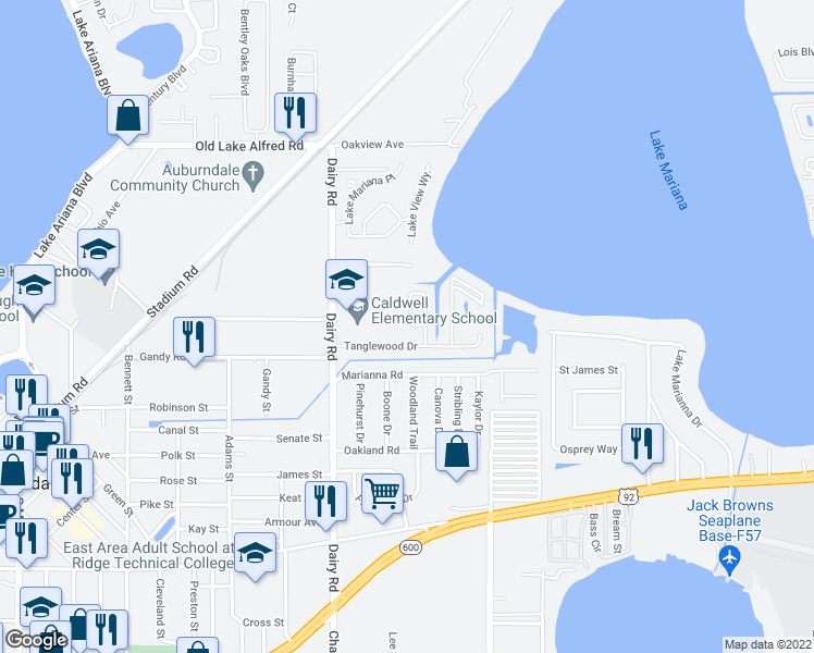 map of restaurants, bars, coffee shops, grocery stores, and more near 145 Jana Circle in Auburndale