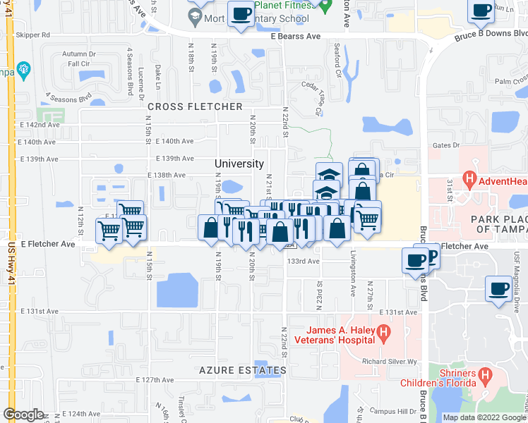 map of restaurants, bars, coffee shops, grocery stores, and more near 13609-13689 North 21st Street in Tampa