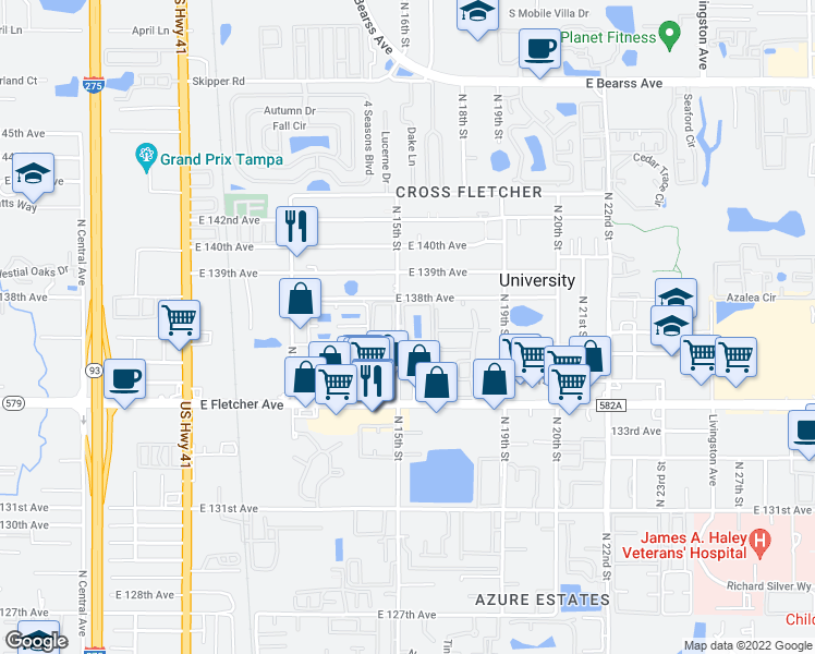 map of restaurants, bars, coffee shops, grocery stores, and more near 13533 Gragston Circle in Tampa