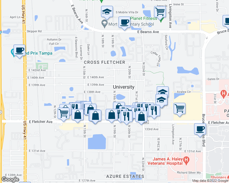 map of restaurants, bars, coffee shops, grocery stores, and more near 13805 N 19th St in Tampa