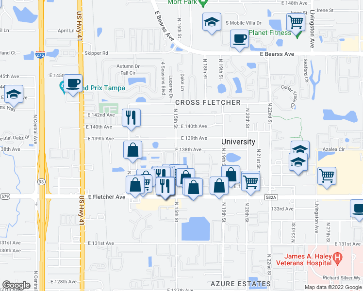 map of restaurants, bars, coffee shops, grocery stores, and more near 1504 East 138th Avenue in Tampa