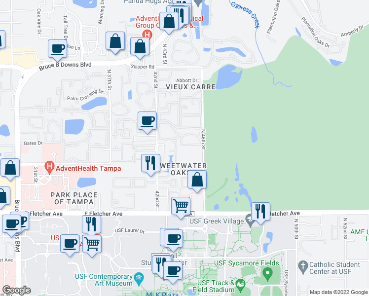 map of restaurants, bars, coffee shops, grocery stores, and more near 14020 North 46th Street in Tampa