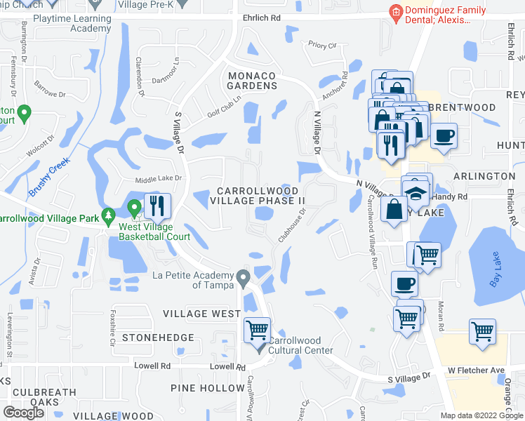 map of restaurants, bars, coffee shops, grocery stores, and more near 4220 Arborwood Lane in Tampa