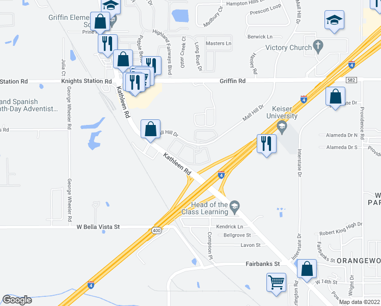 map of restaurants, bars, coffee shops, grocery stores, and more near 1700 Cambridge Cove Pass in Lakeland