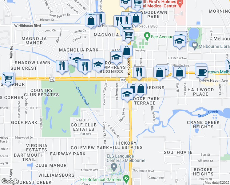 map of restaurants, bars, coffee shops, grocery stores, and more near 2104 Greenway Drive in Melbourne