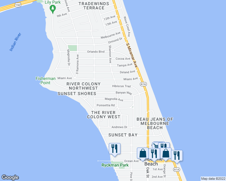 Map Of Melbourne Beach Florida.502 Banyan Way Melbourne Beach Fl Walk Score