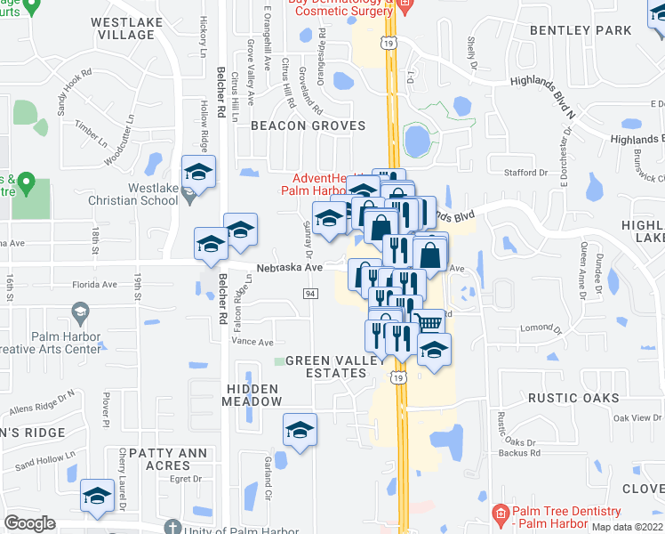map of restaurants, bars, coffee shops, grocery stores, and more near 1150 Riviere Road in Palm Harbor