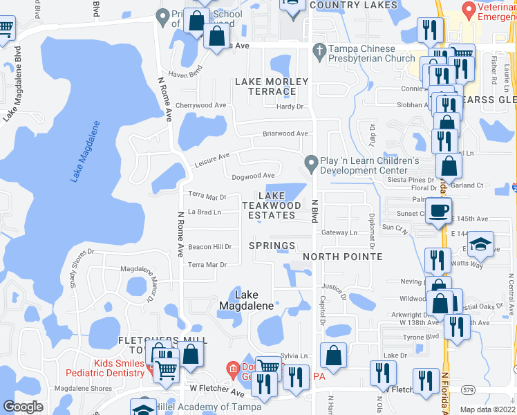 map of restaurants, bars, coffee shops, grocery stores, and more near 1011 Samy Drive in Tampa