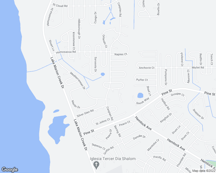 map of restaurants, bars, coffee shops, grocery stores, and more near Caspian Road in Kissimmee