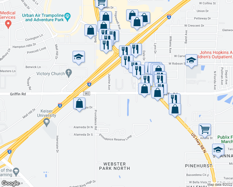 map of restaurants, bars, coffee shops, grocery stores, and more near Imperial Crown Arms in Lakeland