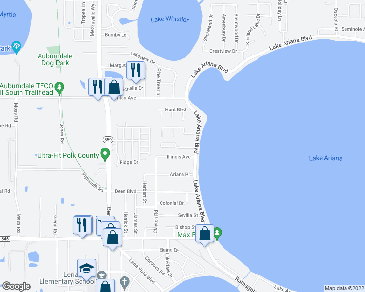 map of restaurants, bars, coffee shops, grocery stores, and more near 256 Madalyn Court in Auburndale