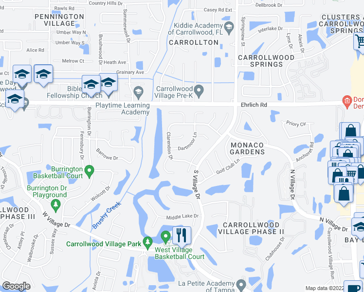 map of restaurants, bars, coffee shops, grocery stores, and more near 14608 Dartmoor Lane in Tampa