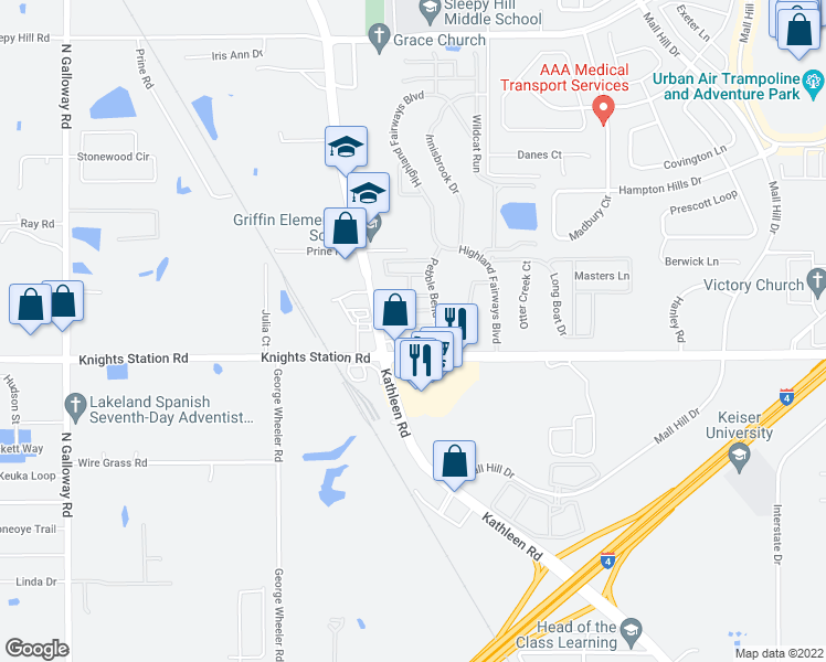 map of restaurants, bars, coffee shops, grocery stores, and more near 3101-3109 Pebble Bend Drive in Lakeland