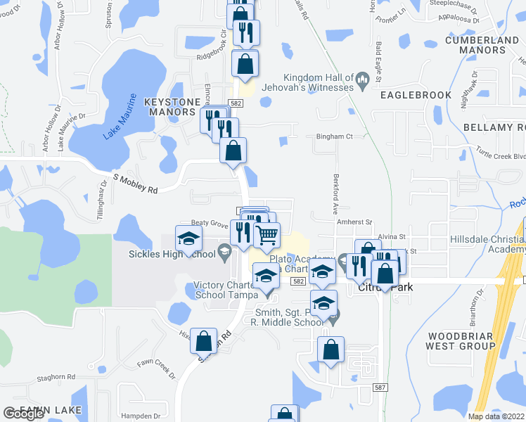 map of restaurants, bars, coffee shops, grocery stores, and more near 7992-7998 Hall Road in Tampa