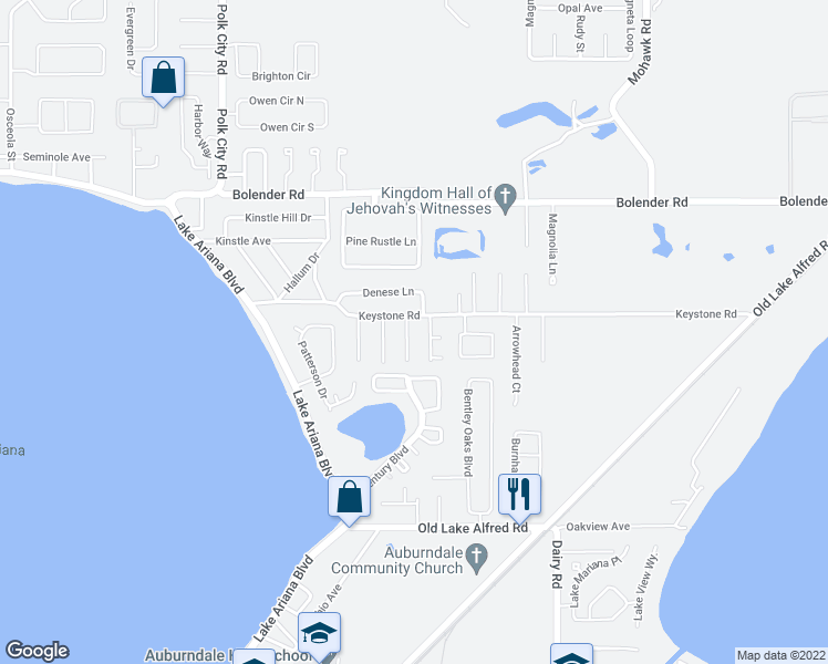map of restaurants, bars, coffee shops, grocery stores, and more near 1210 Carol Avenue in Auburndale