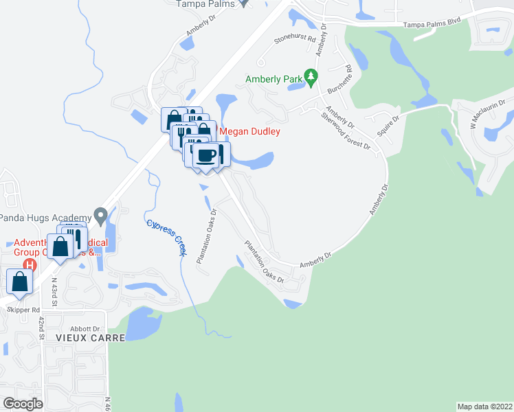 map of restaurants, bars, coffee shops, grocery stores, and more near 15350 Amberly Drive in Tampa