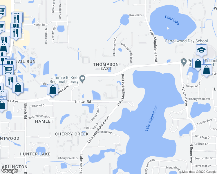 map of restaurants, bars, coffee shops, grocery stores, and more near 14318 Avon Farms Drive in Tampa
