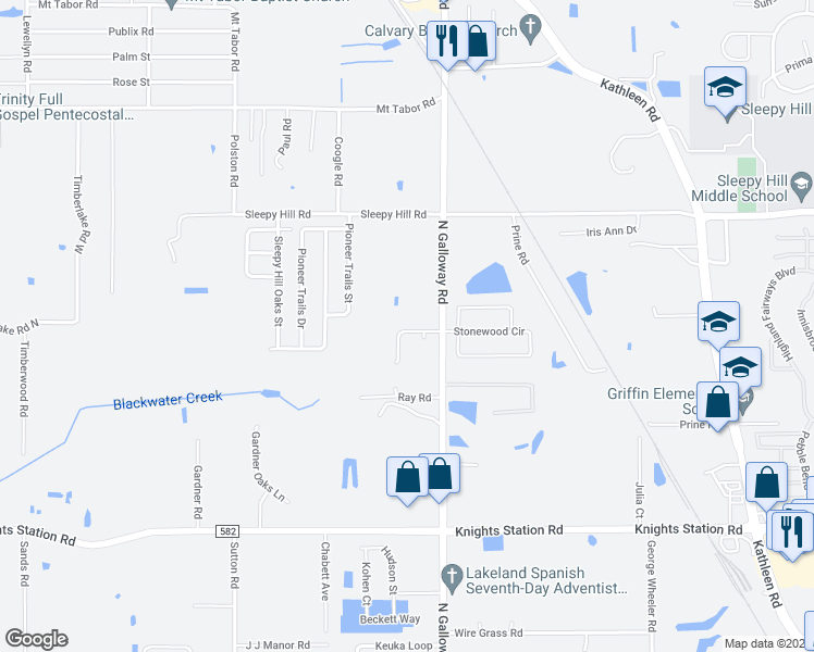 map of restaurants, bars, coffee shops, grocery stores, and more near 3123 Galloway Oaks Drive in Lakeland