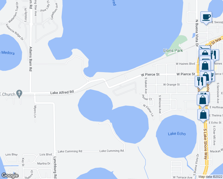 map of restaurants, bars, coffee shops, grocery stores, and more near 743 Lake Cummings Boulevard in Lake Alfred