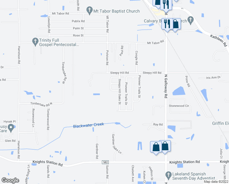 map of restaurants, bars, coffee shops, grocery stores, and more near 3806 Sleepy Hill Oaks Street in Lakeland