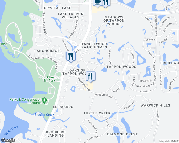 map of restaurants, bars, coffee shops, grocery stores, and more near 114 Annwood Road in Palm Harbor