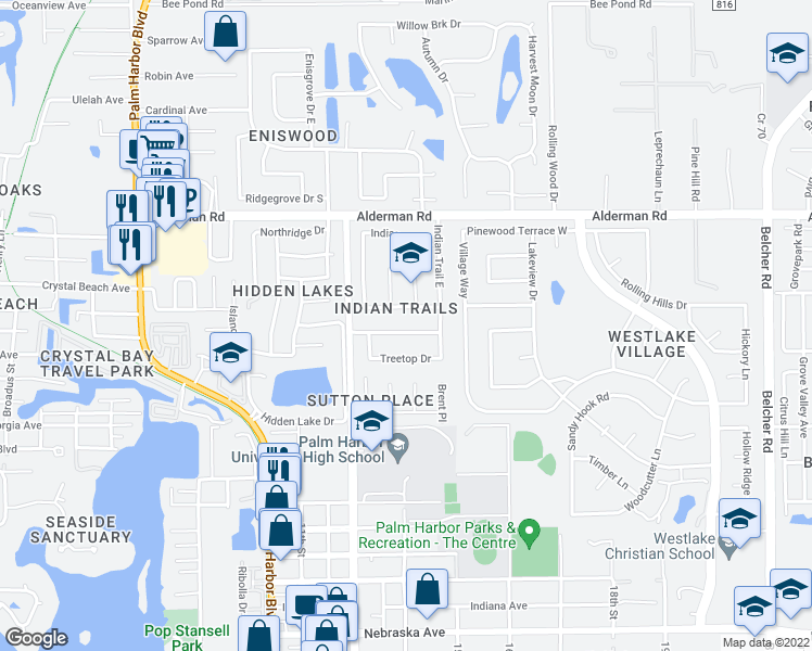 map of restaurants, bars, coffee shops, grocery stores, and more near 2401-2419 Indian Oaks Court in Palm Harbor