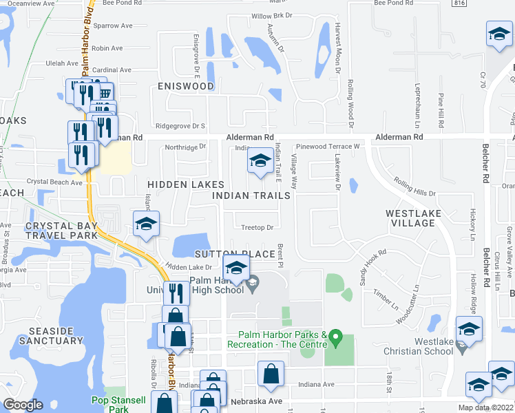 map of restaurants, bars, coffee shops, grocery stores, and more near 2410 Indian Oak Court in Palm Harbor