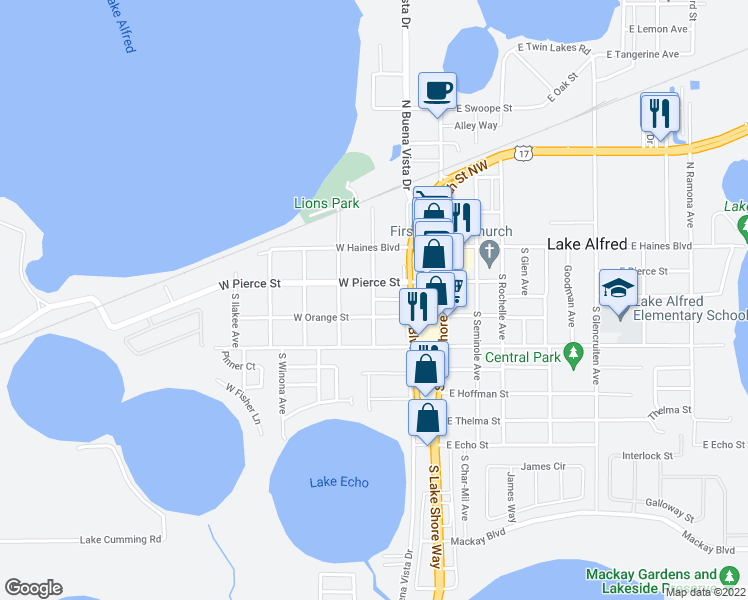 map of restaurants, bars, coffee shops, grocery stores, and more near 298 West Sanford Street in Lake Alfred