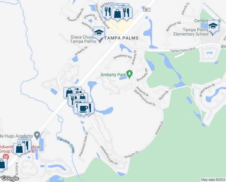 map of restaurants, bars, coffee shops, grocery stores, and more near 5100 Burchette Road in Tampa