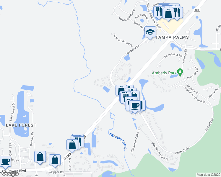 map of restaurants, bars, coffee shops, grocery stores, and more near 4979 Anniston Circle in Tampa