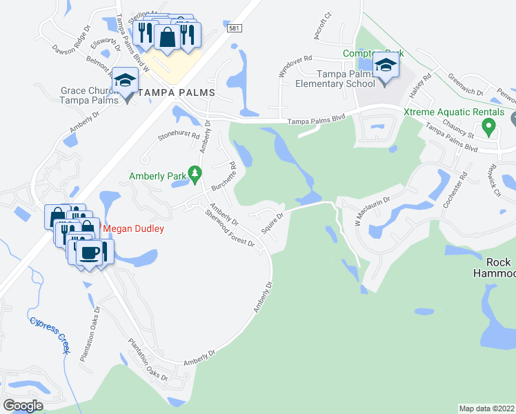 map of restaurants, bars, coffee shops, grocery stores, and more near 5308 Witham Court in Tampa