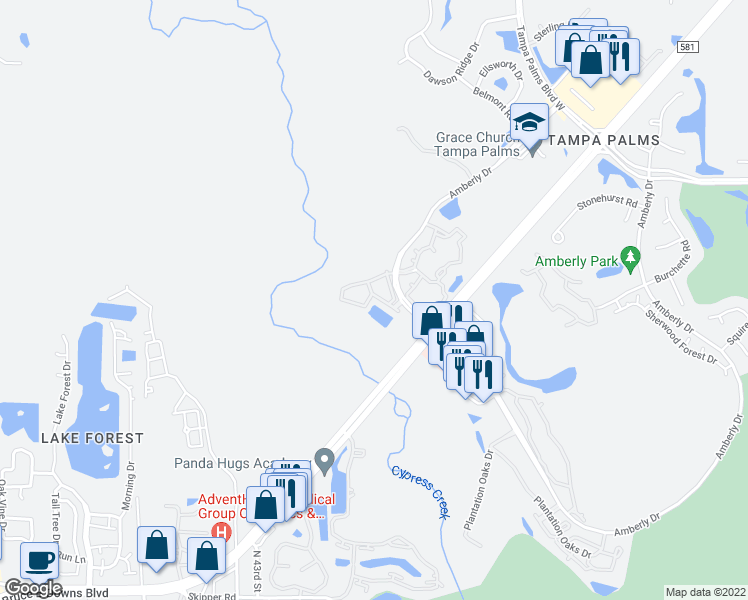 map of restaurants, bars, coffee shops, grocery stores, and more near 4953 Anniston Circle in Tampa